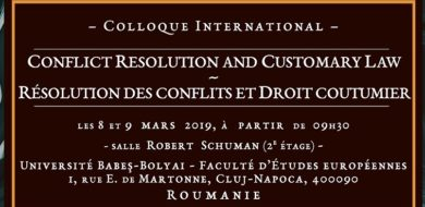 Colloque international – Résolution des conflits et droit coutumier