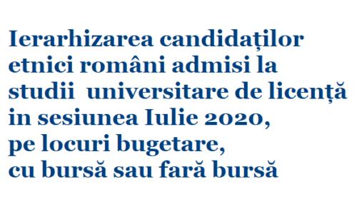 Ierarhizarea candidaților etnici români – cu bursă sau fară bursă
