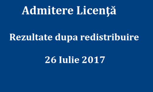 Admitere Licenţă- Rezultate dupa redistribuire 26 Iulie